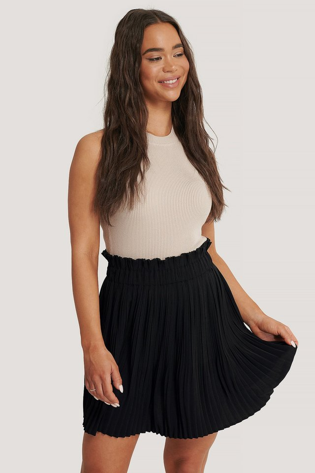 Paper Waist Mini Skirt Black