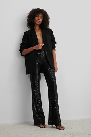 Black Straight Sequin Pants