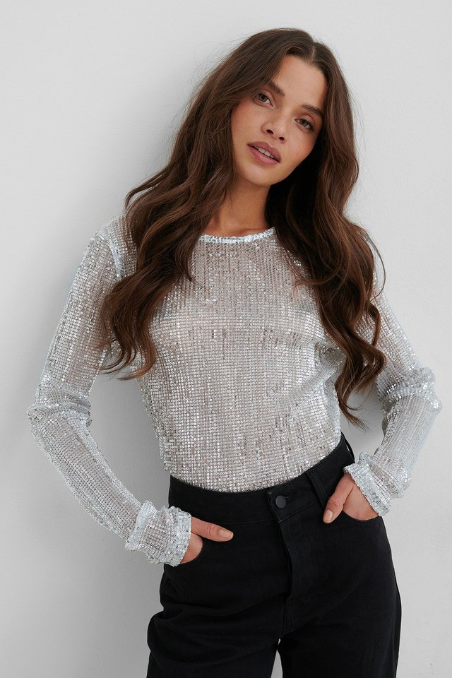 Silver Sequin Round Neck Top