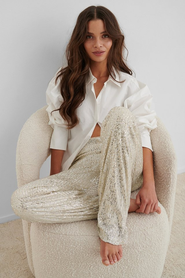 Straight Sequin Pants Silver