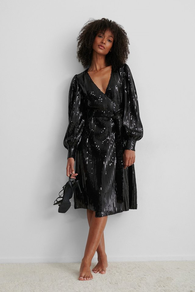 Black Tie Waist Wrap Sequin Dress