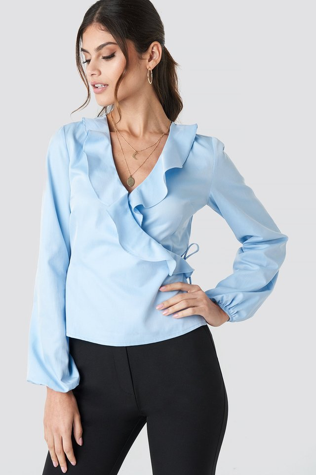 Frilled Neck Wrap Blouse Light Blue