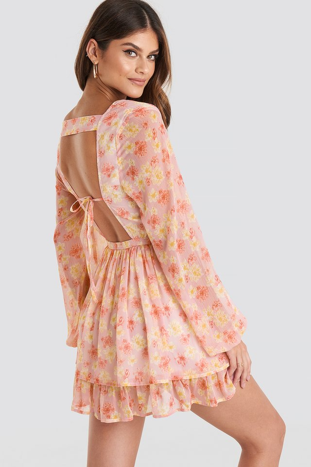 Open Back V-neck Dress Flower Print