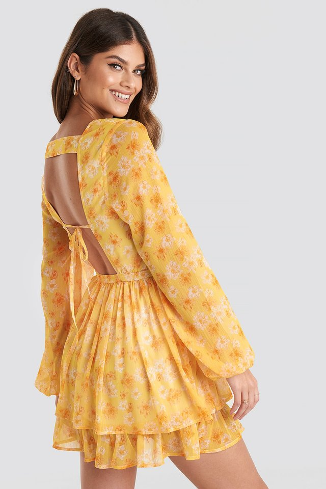 Open Back V-neck Dress Yellow Flower