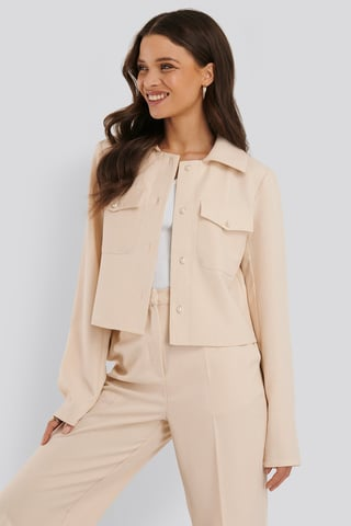 Cream Pearl Buttoned Overshirt