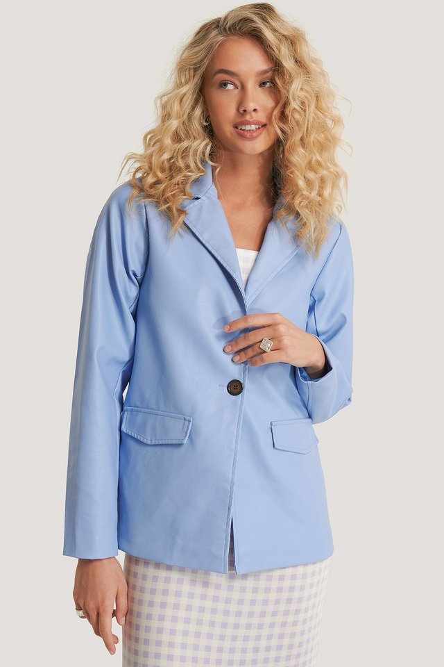Pastel Blue PU Blazer