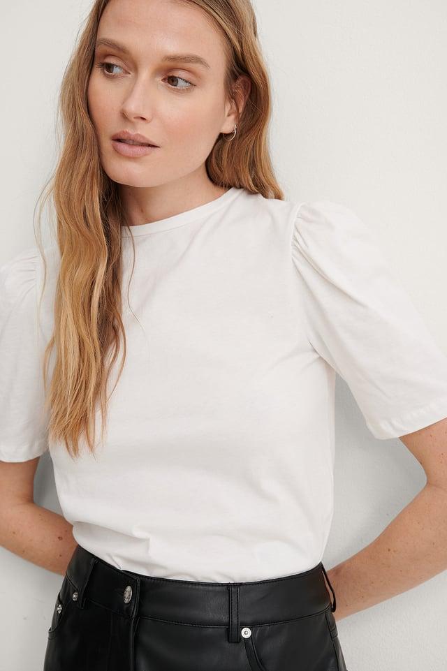 White Ekologisk Bomulls-t-shirt Med Puffärm