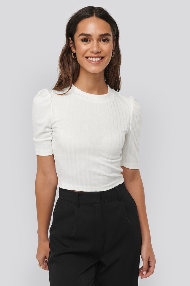 Offwhite Puff Sleeve Cropped Ribbed Top