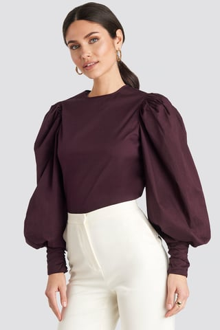 Burgundy Puff Sleeve Fitted Top