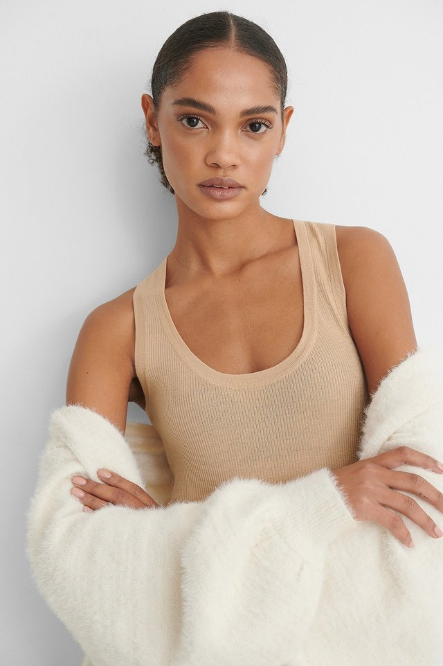 Beige Pure Wool Basic Knitted Singlet