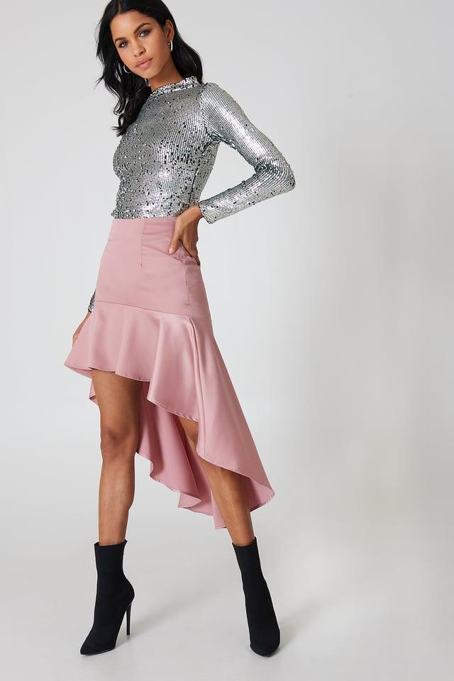 Pink Asymmetric Frill Skirt
