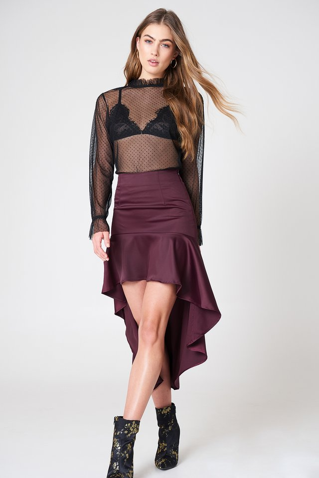 Asymmetric Frill Skirt Purple