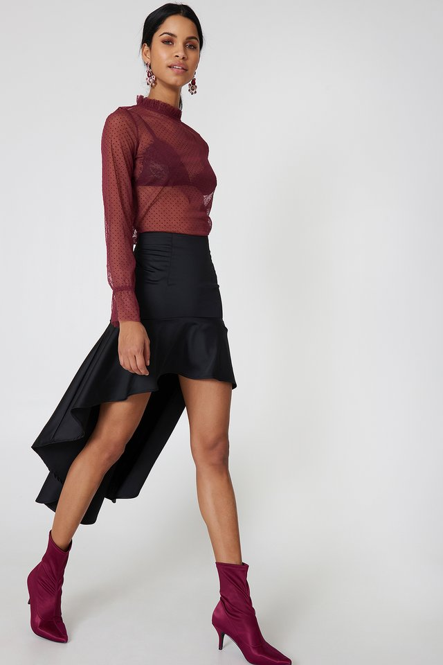 Black Asymmetric Frill Skirt