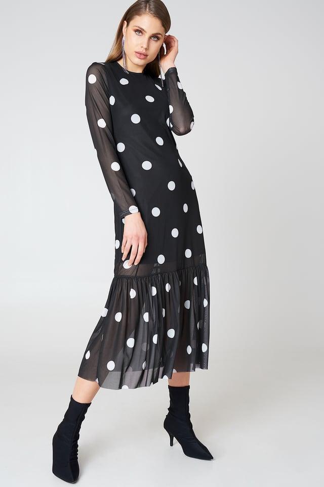 Long Dot Dress Black/White