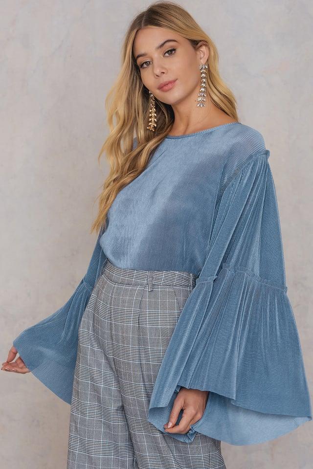 Stone Blue Plisse Wide Sleeve Top
