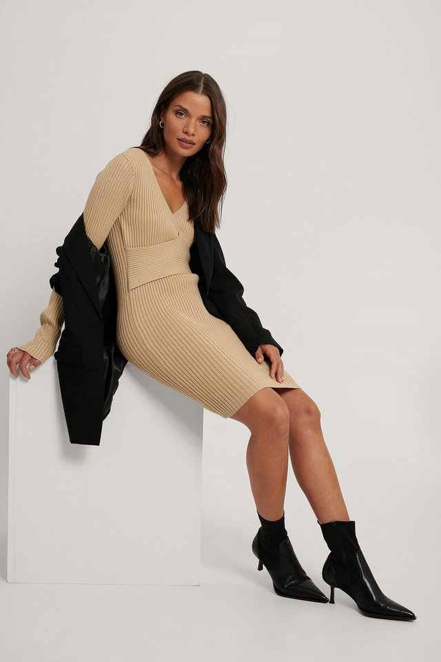 Light Beige Ribbed Knitted Dress