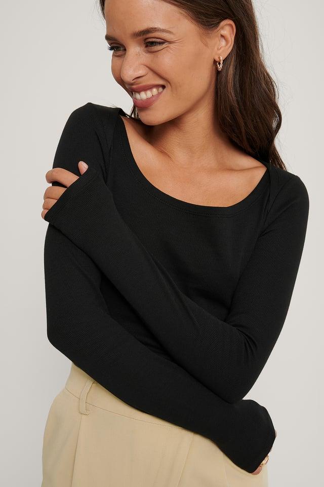 Ribbed Shoulder Detail Top Black