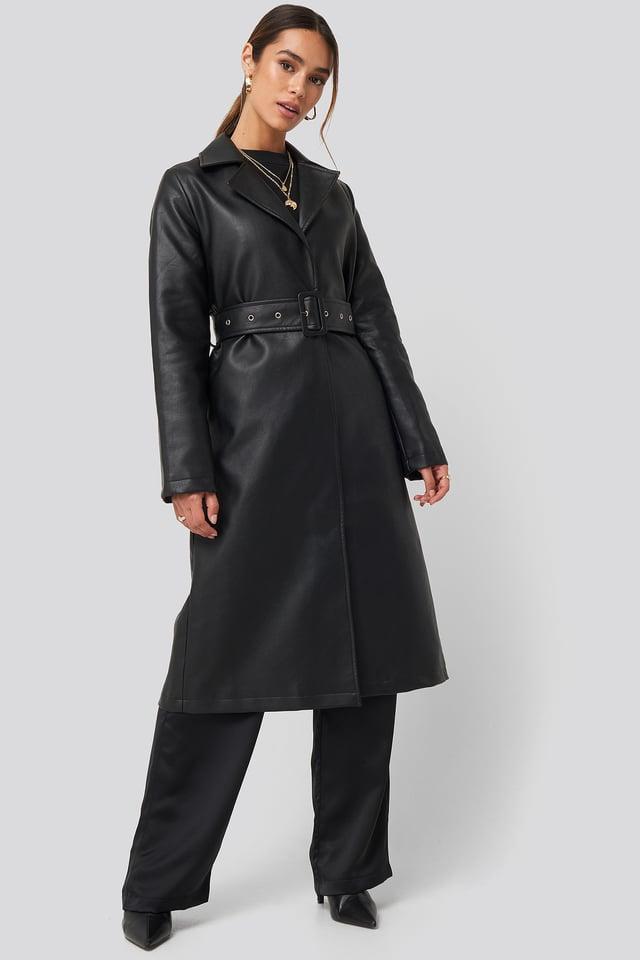 Belted PU Coat Black
