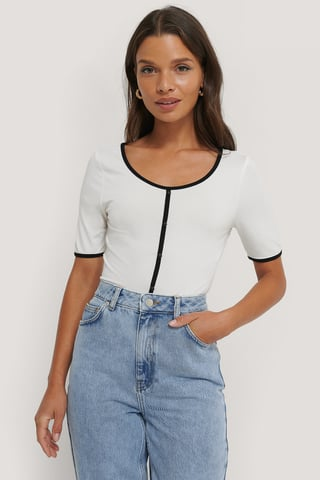 White Buttoned Short Sleeve Top