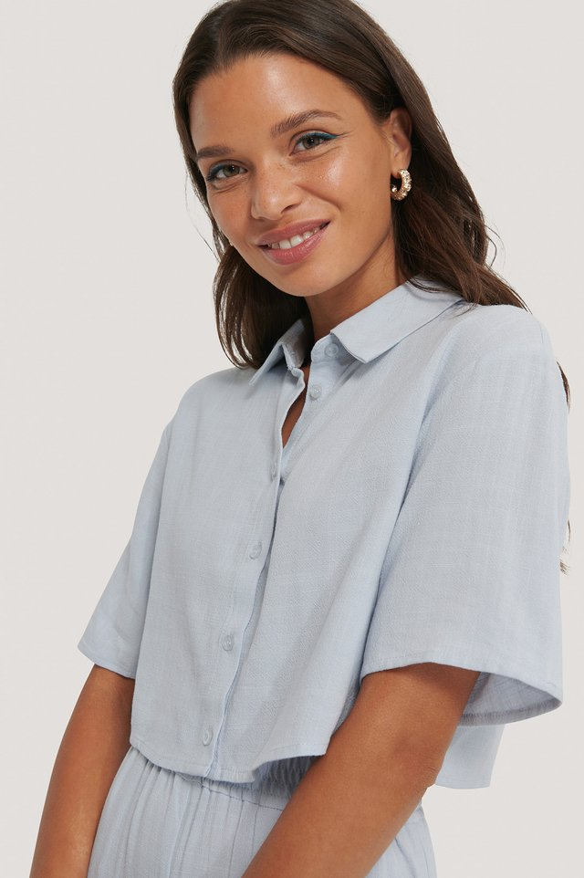 Sky Blue Cropped Linen Blend Shirt