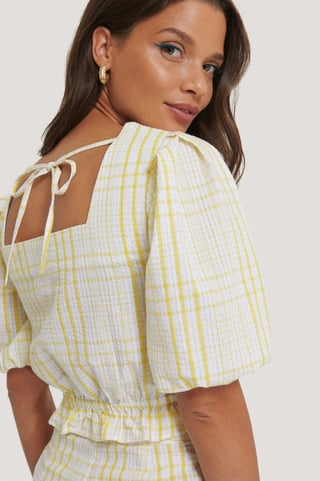 Yellow Print Cropped Seersucker Top