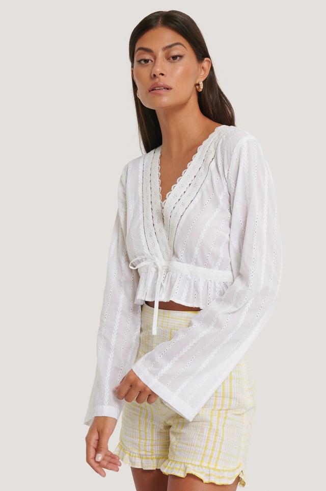 Kort Heklet Kjole Med V-Utringning White
