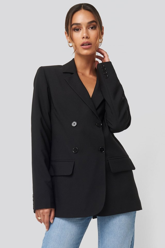 Double Button Blazer Black