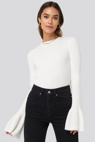 Off White Flared Cuff Ribbed Top