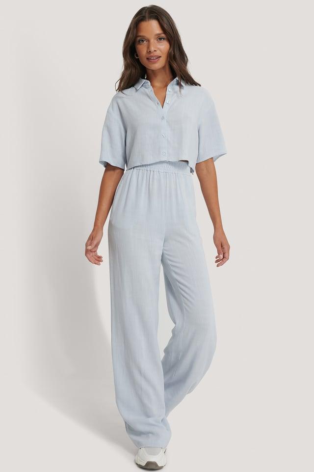 Flowy Linen Trousers Sky Blue