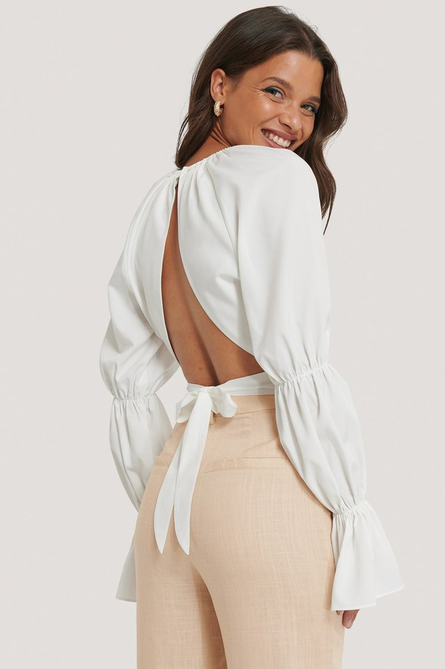 Open Back Long Sleeve Top White