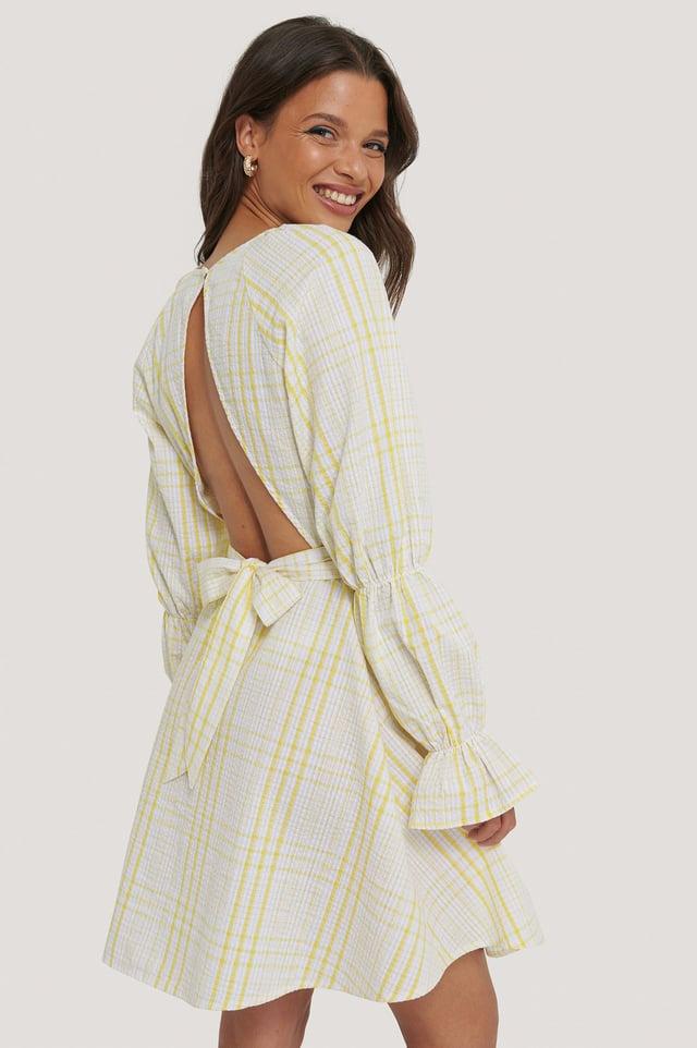 Seersucker Open Back Dress Yellow Print