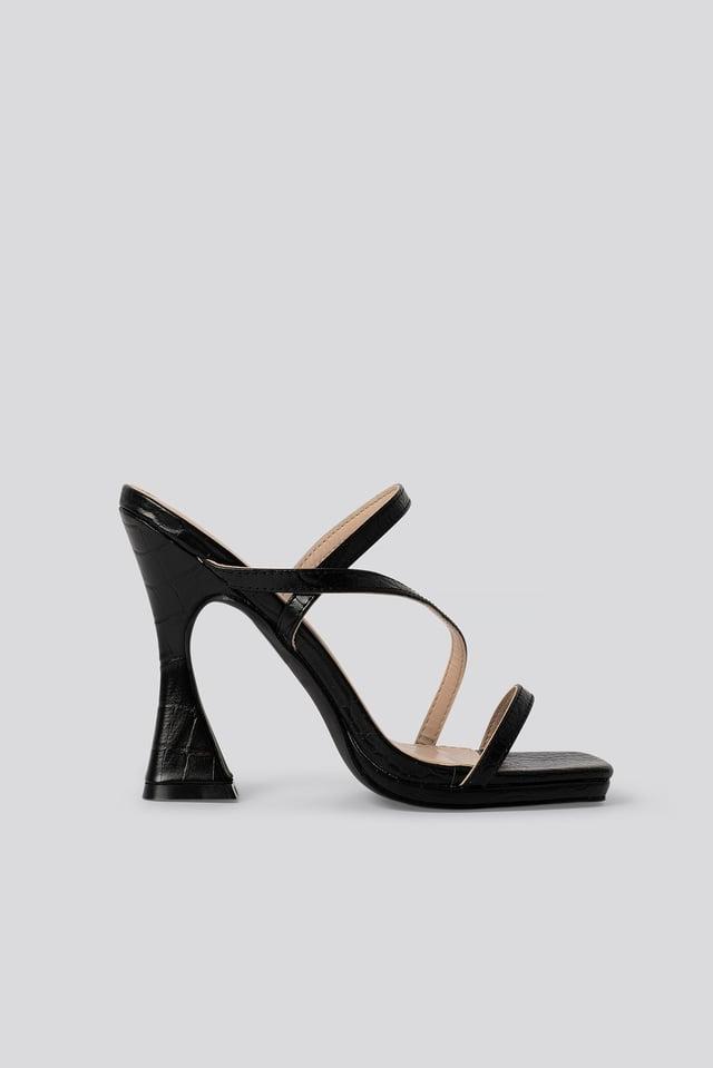 Korkeakorkoiset Sandaalit Black Croc Pu