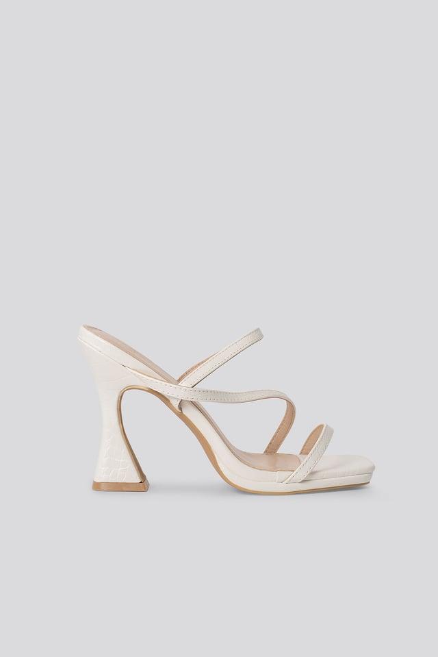 Korkeakorkoiset Sandaalit White Croc PU