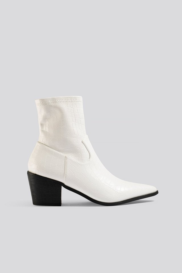 Mira Ankle Boots White Croc PU