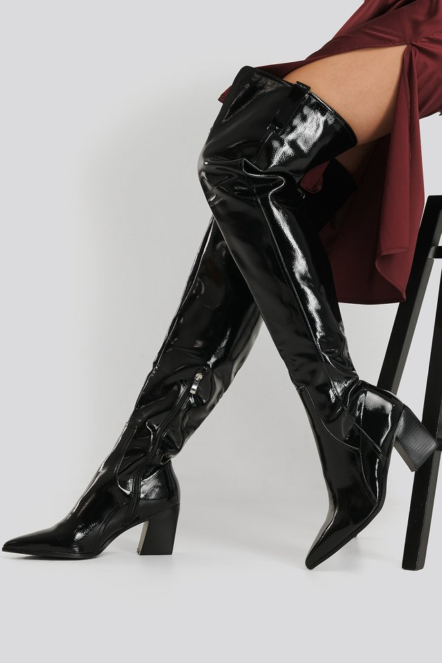 Phyllis Ankle Boots Black Patent