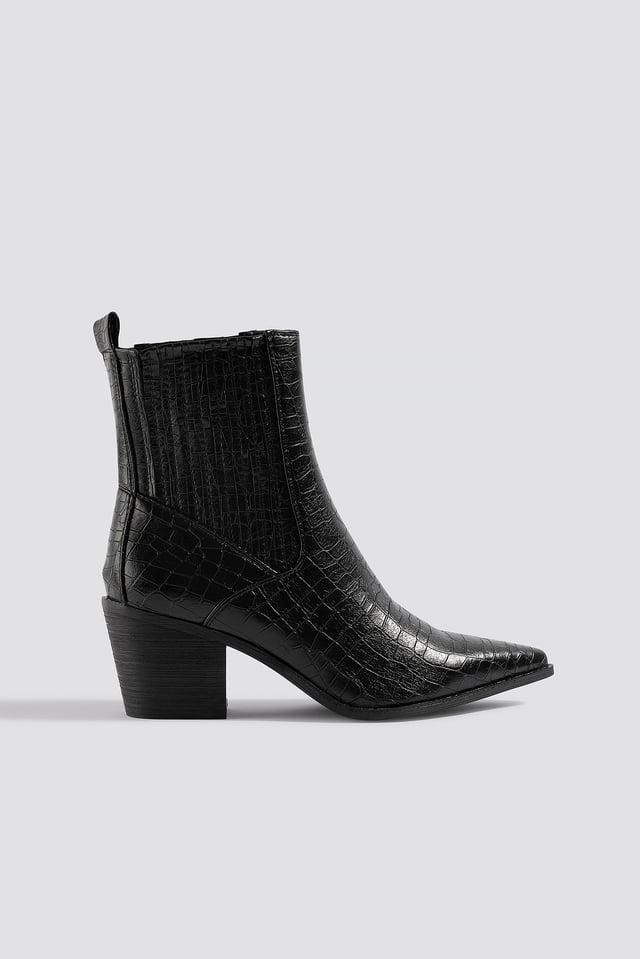 Rocco Ankle Boot Black Croc Pu