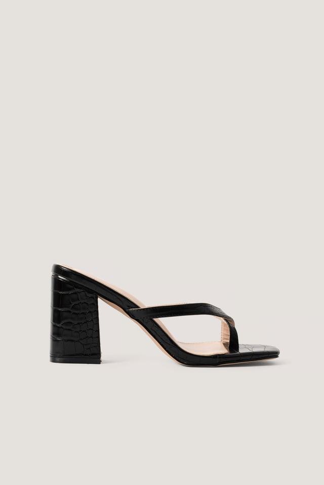 Zora Sandal Black Croc Pu