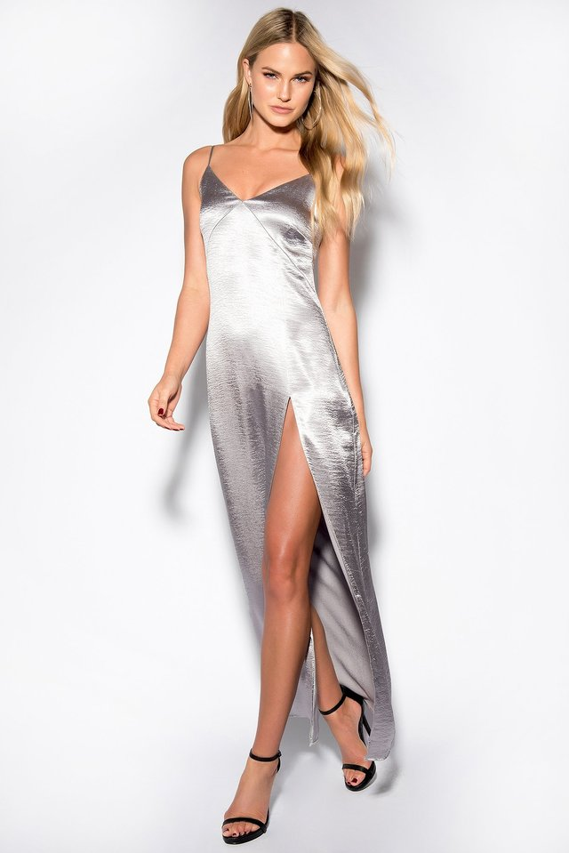 Satin High Slit Long Dress Silver