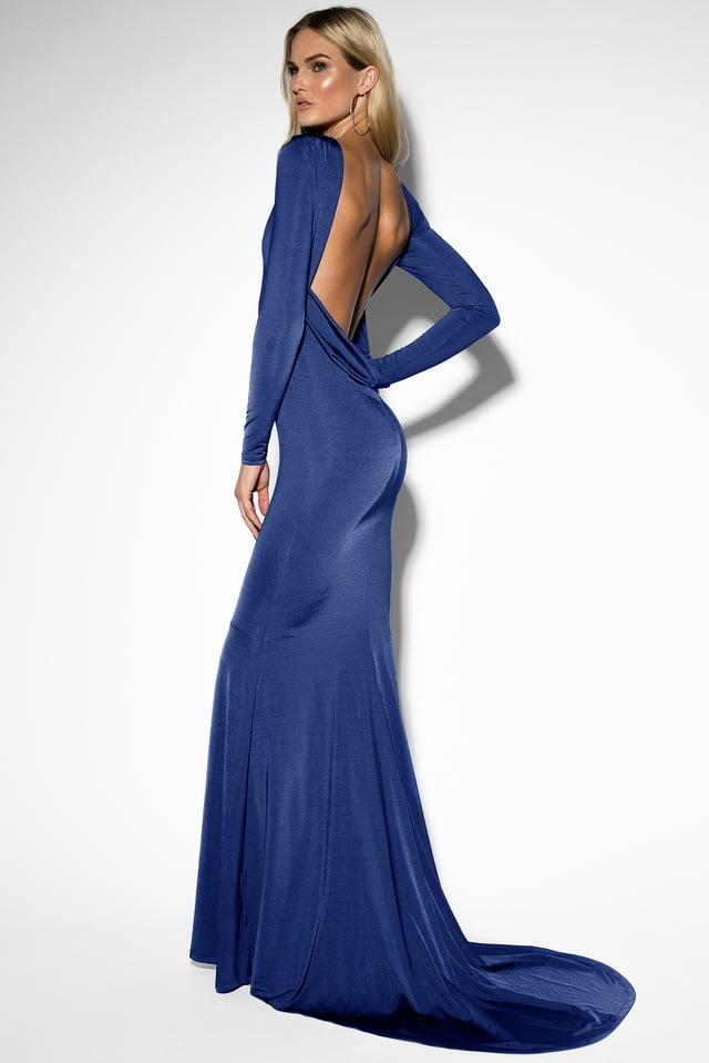 Open Back Mermaid Dress Dark Blue