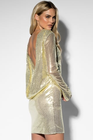 Gold Sequin Open Back L/S Dress