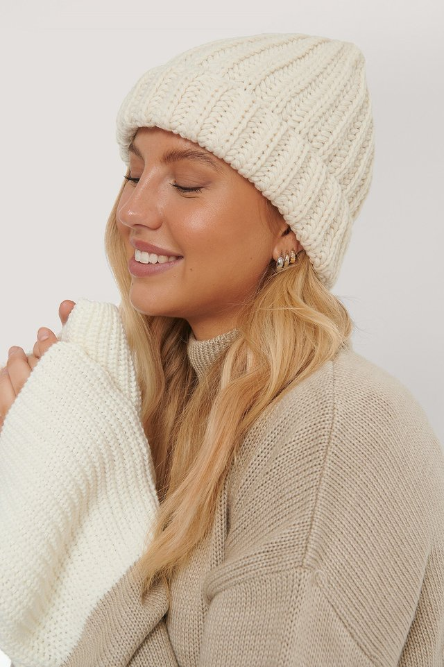 Recycled Chunky Beanie Offwhite