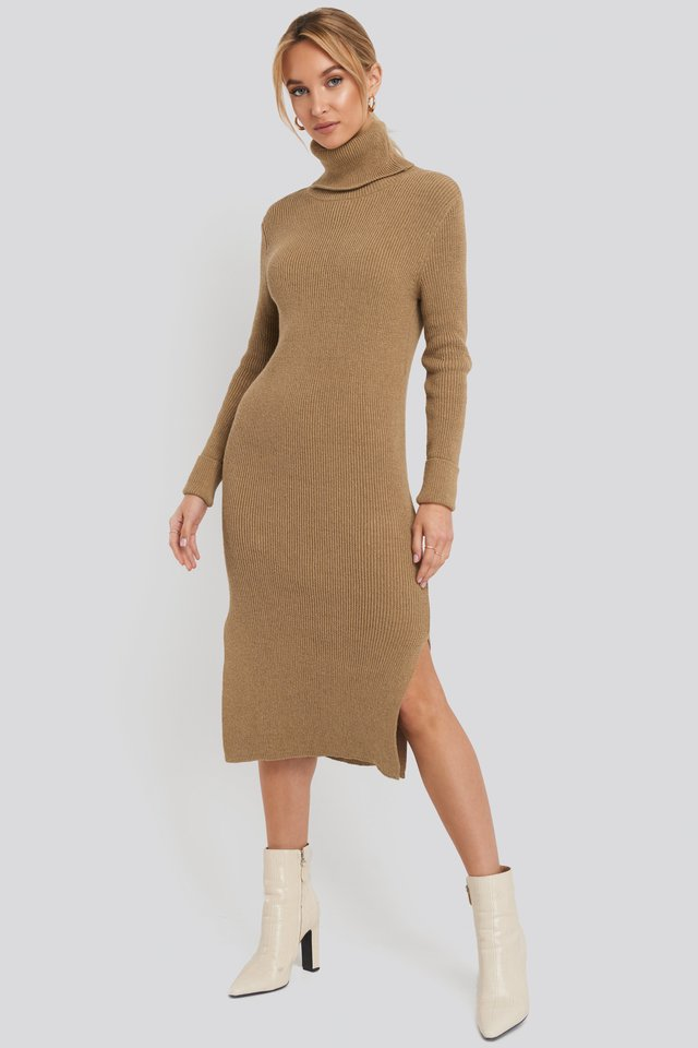 Recycled Turtle Neck Split Hem Sweater Dress Brown