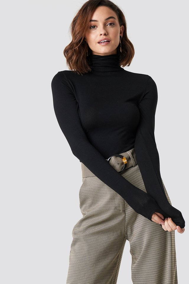 Black Viscose Long Sleeve Polo Top