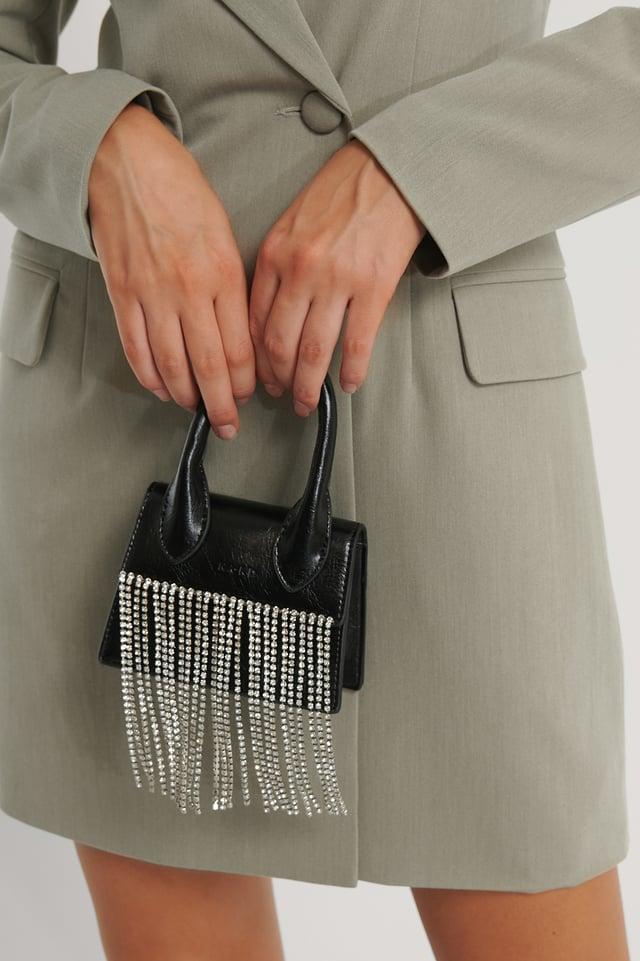 Black Rhinestone Micro Top Handle Bag