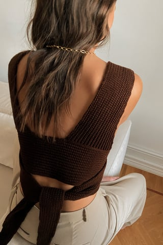 Brown Rib Knitted Wrap Top