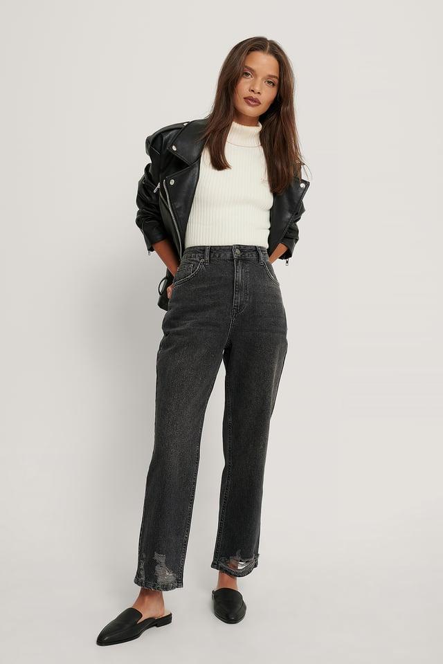 Black Ripped Hem Straight High Waist Jeans