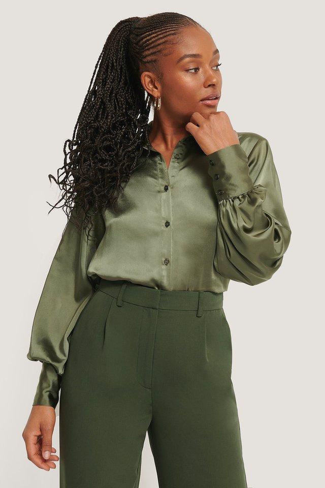 Big Cuff Satin Blouse Dark Green