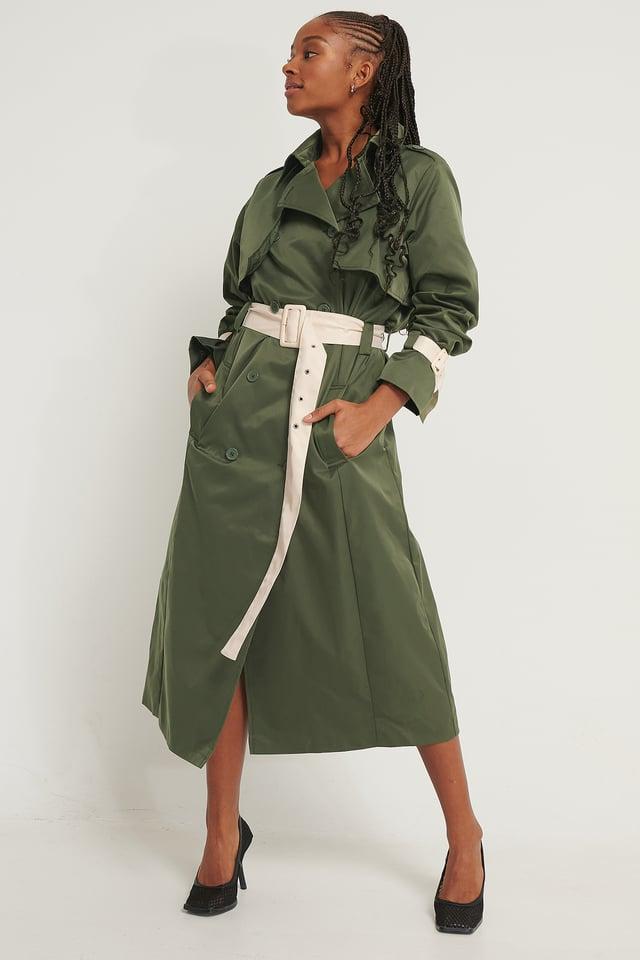 Trenchcoat Med Kontrastdetaljer Dark Green