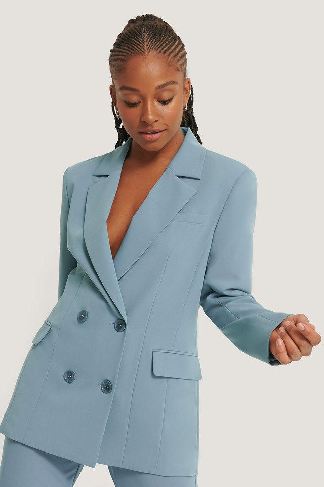 Oversized Flap Pocket Blazer Stone Blue