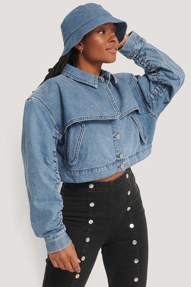 Short Detail Denim Jacket Light Blue